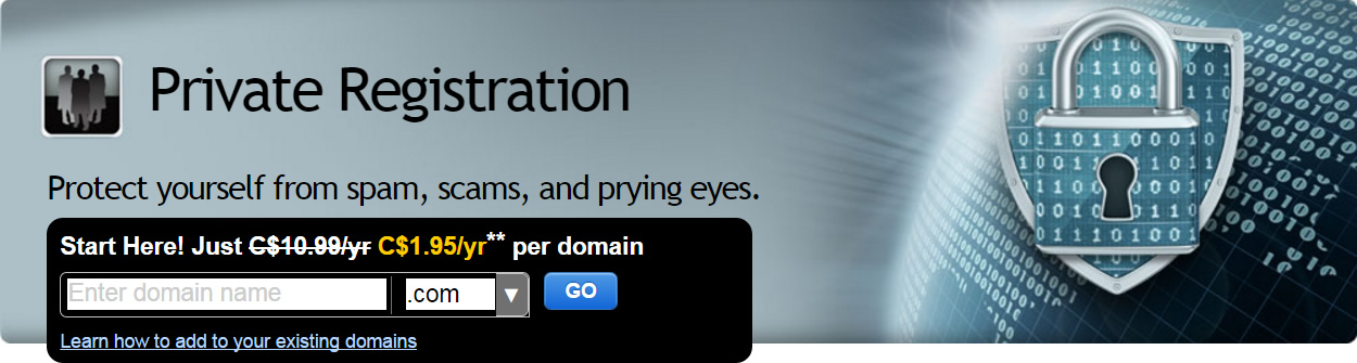 get private domain registration at discount rate